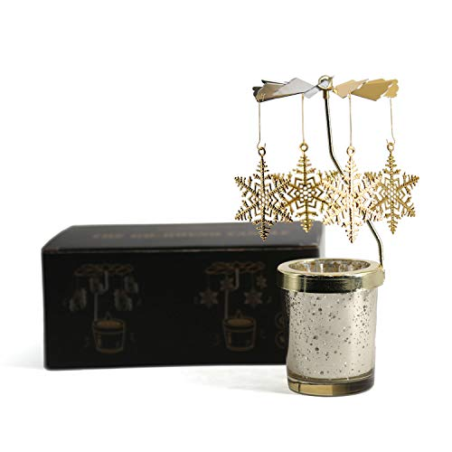 (Mishen Automatic Rotating Candle Holder-Star Glass Cup with Pendant Windmill, for Holiday Decor, Wedding, Gift, Create Dynamic Shadow)
