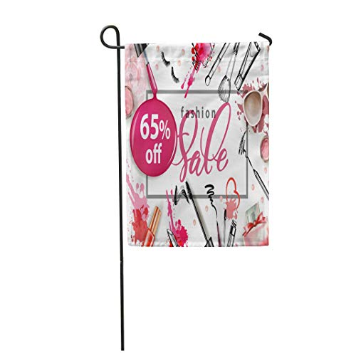 "Tarolo Decoration Flag Cosmetics and Make Up Artist Perfumes Nail Polish Lip Gloss Lipstick Women Sunglasses Mascara Blush Powder Brush Sale Thick Fabric Double Sided Home Garden Flag 12"" W x 18"" H"