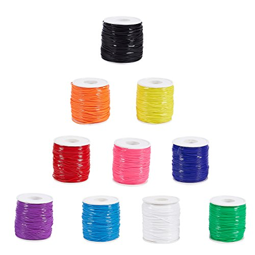 Plastic Lacing Cord - 10-Pack Plastic String for Lanyard, Friendship Bracelet, Keychain Charm, DIY Craft, 10 Colors, 100 Yards Each -