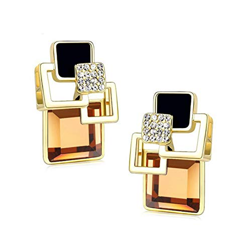 (Vintage Square Crystal Geometric Earrings Vintage Fashion Fine Gold Jewelry (Coffee))