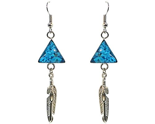 - Chip Stone Inlay Triangle Shape Silver Feather Charm Dangle Earrings (Turquoise)
