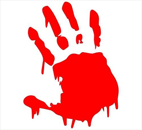 [ST#164] ZForce Two(2) Red Bloody Hand Print Car Decal Vinyl Window Wall Sticker Walking Dead -