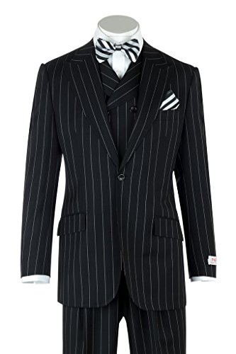 Tiglio Rosso San Giovesse Black Pin-Stripe Wide Leg, Pure Wool Suit & Vest TIG1052 - Black Italian Suit