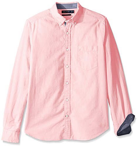 Nautica Men's Big and Tall Long Sleeve Button Down Solid Oxford Shirt, Orchid Pink, 2X