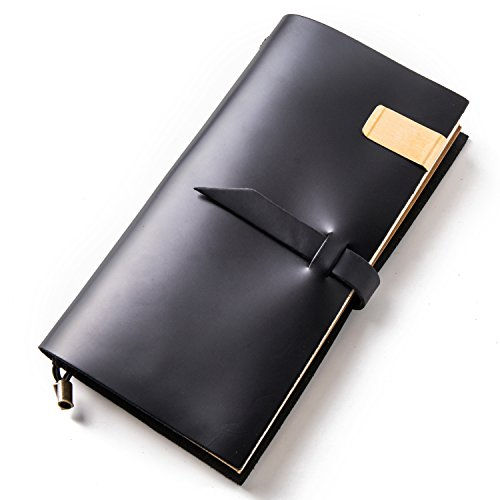 Notebooks and Journals,Leather Travel Diary,Bullet Journals,Refillable Notepad for Men & Women to Write In,Holder Clip Zipper Card Sketching Drawing (Black, Standard size) by IPBEN