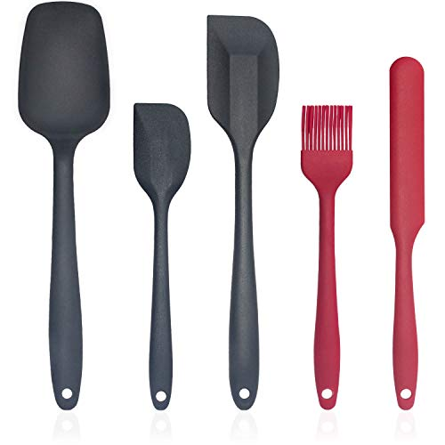 5 PCS Silicone Spatulas set, Heat-Resistant Rubber Spatula for Baking, One-piece Mixing Spoons spatula for Cooking, Non-Stick jar spatula, Dishwasher-Safe silicone Basting & Pastry Brush