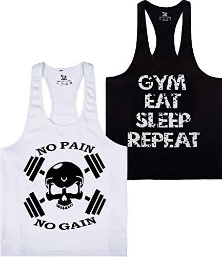 YSENTO Mens Skull Stringer Y Back Tank Tops Gym Training Sleeveless t Shirts 2 Pack White Black XXL -