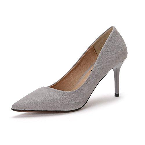 MUYII Femmes Ont Souligné Chaussures De Talons Hauts De Faible Profondeur Fine Bouche Avec Le Travail De La Mode Grey AlIAxN0C9