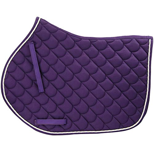 - Country Pride All Purpose Forward Cut Saddle Pad - Purple Pad with Multi Color Cord