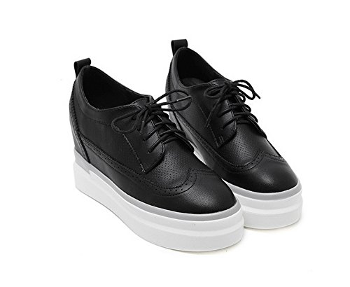 Platform Shoes Toe Round Bandage Black Oxfords 1TO9 Womens Microfiber FIfqwO0S