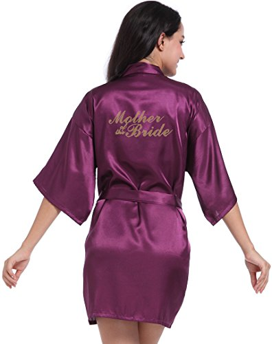 (DF-deals Women's Satin Kimono Robe for Bridesmaid and Bride Wedding Party Getting Ready Short Robe with Gold Glitter)