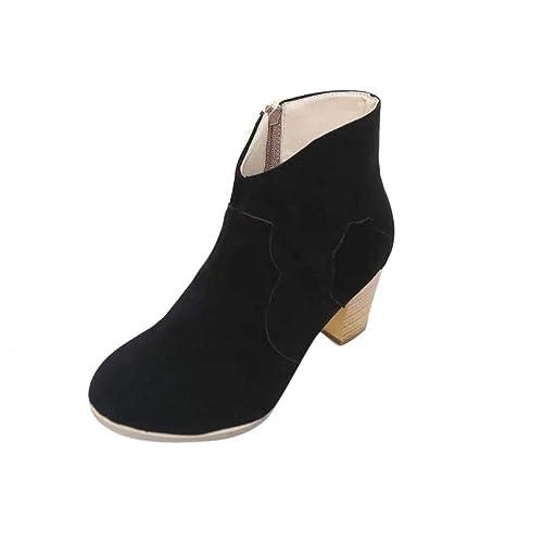 Botas de Mujer Btruely Herren Botas Mujer de Planos Tacon Botines de Tobillo Mujer Martín Botas Tacón Alto Cuadrado Moda Otoño Invierno Zapatos: Amazon.es: ...