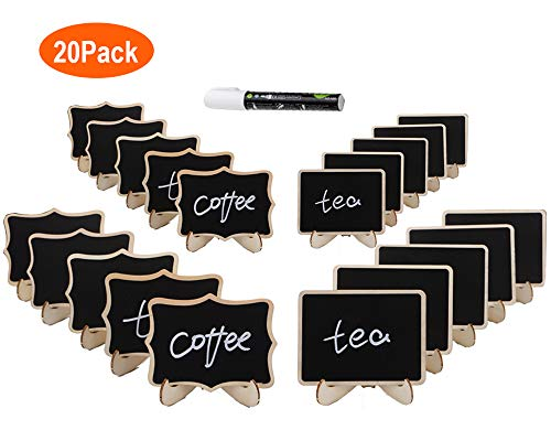 Obeda 20 PCS Mini Chalkboard Signs: Best Wooden Framed Small Blackboard with Support Easels - Perfect Place Cards, Table Numbers, Event Decorations, Message Board Signs for Weddings & Birthday Parties - Black Slate Welcome Sign