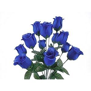 """Rose Bud Bush 14 Artificial Silk Flowers 17"""" Bouquet 643 Royal Blue 4"""