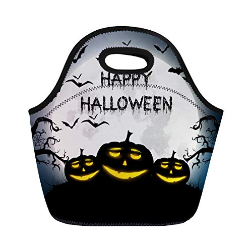 Semtomn Lunch Tote Bag Text of Happy Halloween Autumn Bat Black Cartoon Celebration Reusable Neoprene Insulated Thermal Outdoor Picnic Lunchbox for Men Women -