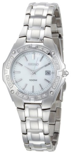 Seiko Women's SXDB51 Diamond Bezel Silver-Tone Mother of Pearl Dial Dress Watch