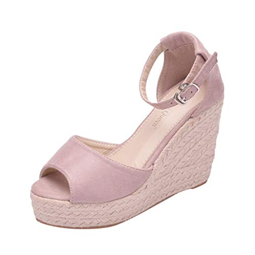 Cenglings Women's Fish Mouth Espadrilles Plus Size Platform Sandal Wedges Shoes Slip On Shallow Ankle Strap Sandals Pink