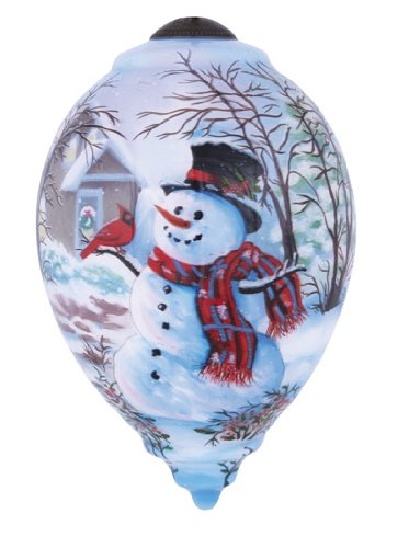 "Ne'Qwa Art, Christmas Gifts, ""Snowman And Cardinal"" Artist Dona Gelsinger, Princess-Shaped Glass Ornament, #7141111 - Top Hat Blown Glass Ornament"