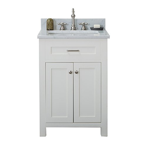 "Alya Bath HE-101-24-W-CWMT Norwalk Single Bathroom Vanity with Carrera Marble Top and No Mirror, 24"", White"