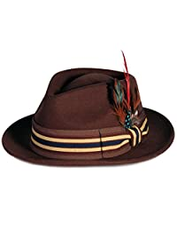City Hunter Pmw89 Pamoa Wool Fedora with Feather Trim - Brown (Xlarge)