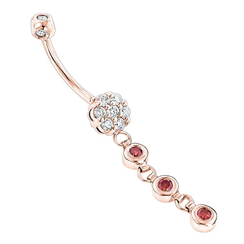 Luxurman Flower Body Jewelry Ladies Unique White Pink 0.75 Ctw Diamond 14k Belly Button Ring (Rose Gold) ()