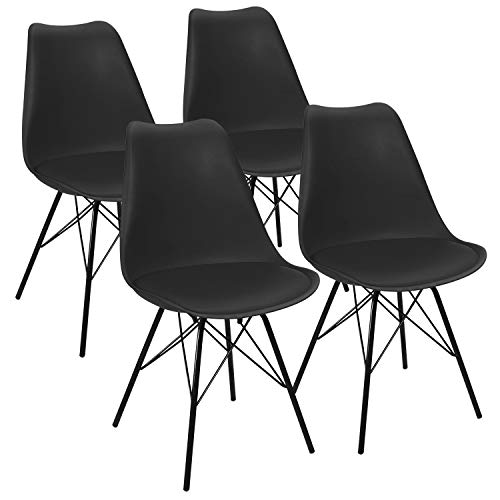 JUMMICO Kitchen Dining Chair with Soft Padded Mid Century Shell Side Chair Armless Tulip Chair Set of 4 (Upholstered Black)