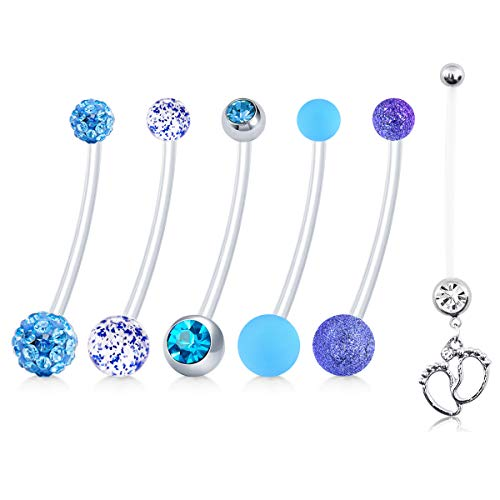 JFORYOU 6 Style Long Belly Button Rings Pregnancy Maternity Flexible Bioplast Navel Retainer Body Piercing 14G 1&1/2 Inch Length