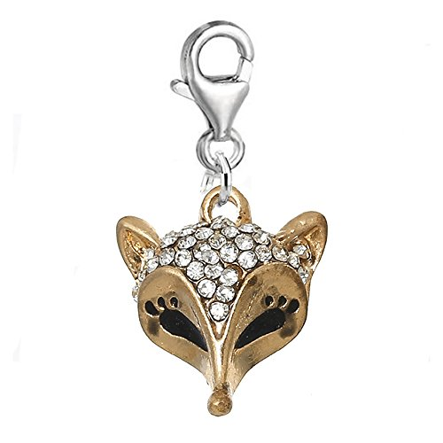 Animal Charm Bead Clip on Pendant for European Charm Jewelry w/ Lobster Clasp (Fox Clip On)