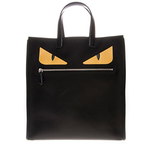 Fendi-Mens-Monster-Creature-Nylon-Tote-Monster-Front-Zip-Flat-Handle-Nylon-Tote-Bag-Black