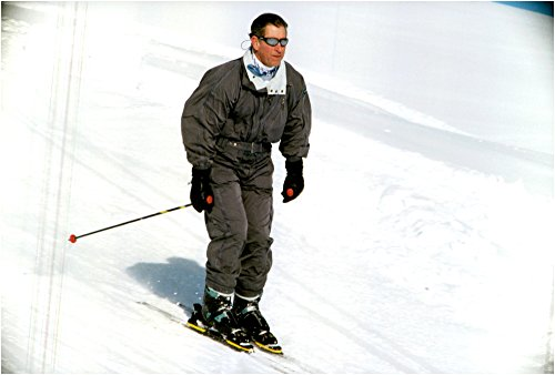 Vintage photo of Prince Charles goes skiing during a skiing holiday in (Alpine Telemark Ski Bindings)