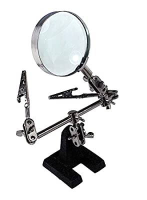 PHYHOO Helping Hands with Magnifying Glass Magnifier Stand with Clamp for Iron Soldering, Assembly, Repair, Modeling, Hobby and Crafts