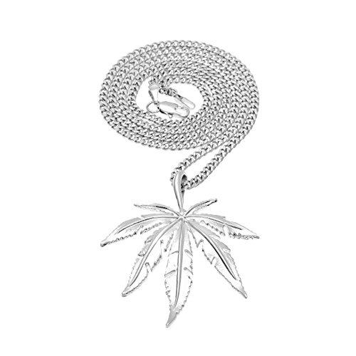 HongBoom Hot Hip Hop Cuban Link Chain 14K Gold Silver Plated CZ CRYSTAL Fully Iced-Out Bling Bling Marijuana leaf Necklace - Marijuana Gold