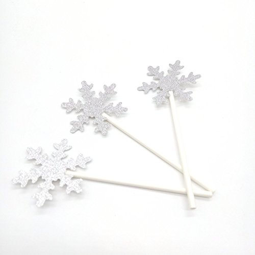 Paity 12pc Snowflake cupcake toppers Silver Glitter Snowflakes Snow decoration Frozen Party cupcake toppers Winter Wonderland Winter birthday