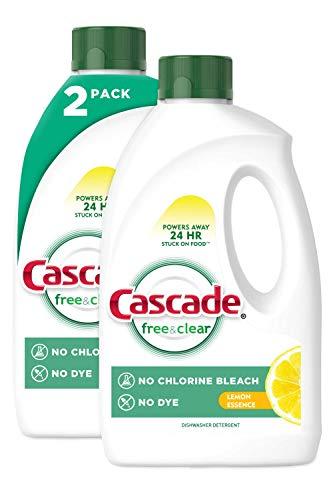 Cascade Free & Clear Gel Dishwasher Detergent, Lemon Essence, 2 Count (60 fl oz ea)