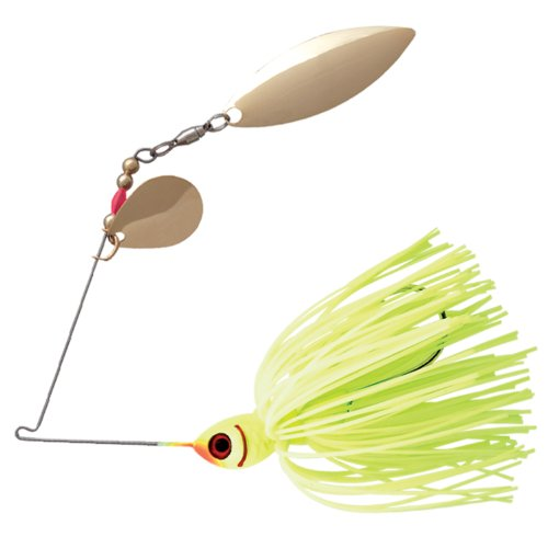 Booyah Double Willow Counter Strike Spinner bait Fishing Lure, Chartreuse, 3/8 ounce, Outdoor Stuffs