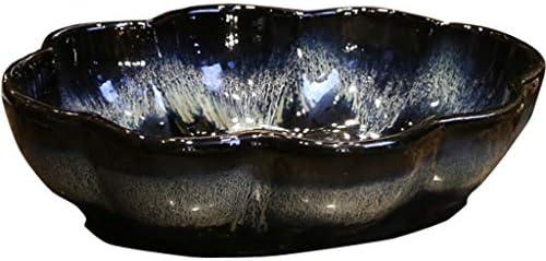 洗面ボール・洗面器 洗面器 青い艶をかけられた芸術のカウンタートップの洗面器 花の形のビンテージセラミック洗面器 クリエイティブなアンティークブルーブラックシンク (Color : Gradient blue black, Size : 57*42*13cm)