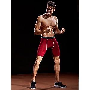 Neleus Men's 3 Pack Compression Shorts Athletic Sport Underwear,6034,Black,Grey,Red,US S,EU M