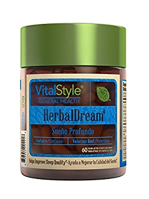 Herbal Dream - Premium 100% Natural Sleep Aid, Non-Habit Formula with Valerian Root, Hops, Passion Flower and other Minerals & Antioxidants that will help you relax and enjoy a gentle sleep