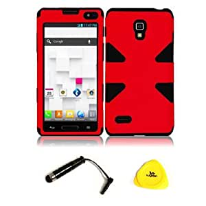 For LG Optimus L9 P769 - Wydan (TM) Dynamic Hybrid Double Layer Impact Case Hard Silicone Covers w/ Wydan Prying Tool and Stylus Pen (RED ON BLACK)