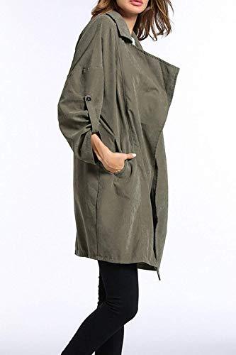 Autunno Outerwear Manica Trench Puro Eleganti Baggy Giacca Primaverile Lunga Donna Cappotto Casuali Bavero Verde Estilo Especial Colore Windbreaker Aq1fwE7