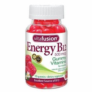 Vitafusion énergie B12,500 mcg, Gummy Vitamins, Très Framboise 100 ch