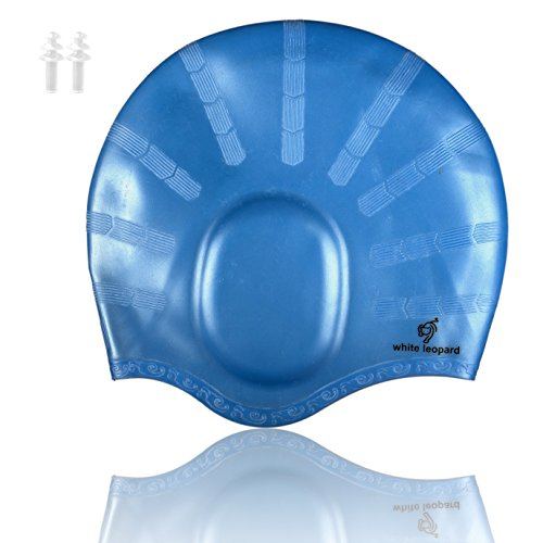 Swim Cap for Long Hair - Silicone Swimming Hat with Ear Pockets for Men and Women, Free Ear Plugs Included (Blue)