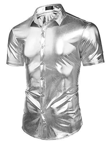COOFANDY Men's Metallic Shiny Nightclub Dress Shirts Short Sleeve 70s Disco Party Button Down Shirts -