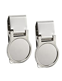 2 Pack Stainless Steel Money Clips, Slim Credit Card Holder, Round Design for Men and Women, Silver, 2.3 x 1.3 x 0.4 Inches