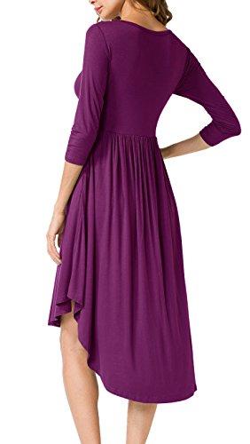Women's Low Casual Pockets Purple High Loose Midi Scoop Dress Neck LILBETTER Swing Pleated SHdWBqB