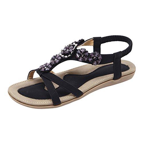 Ville Noir Tongs Claquettes à Chaussures Matelassée Été Bout Semelle Femmes Plates Frestepvie Plats Ouvert Sandales Talons de aqTXRX