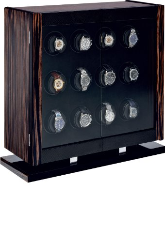 Avanti 12 Programmable Watchwinder in Italian-made Macassar Veneer and Carbon Fiber Cabinet by Orbita ()