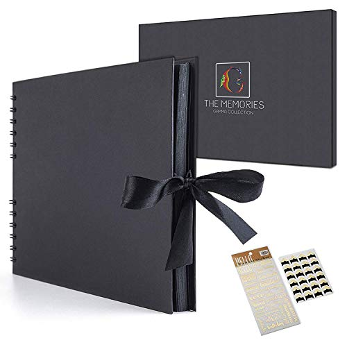 Winons Scrapbook Kit - Classic Photo Album 60 Pages Craft Paper, Stickers, Photo Corners and Gift Box| Great For Wedding Guest Book, Anniversary Gifts For Men /Women, Etc. (Black)