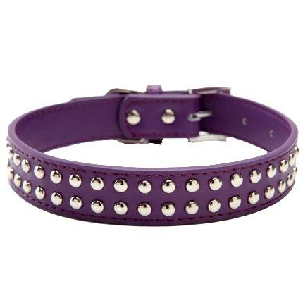 BINGPET BA2006 Real Split Leather Studded Pet Dog Collar (Purple Leather Dog Collar)