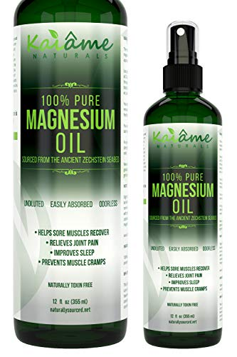 Kaiame Naturals Magnesium Oil Spray | Large 12 oz | Undiluted | 100% Pure and Organic | Sourced from Ancient Zechstein Seabed | Highest Quality